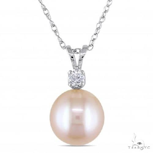 Pink Freshwater Pearl Solitaire Pendant Necklace 14k White Gold 9-9.5mm Stone