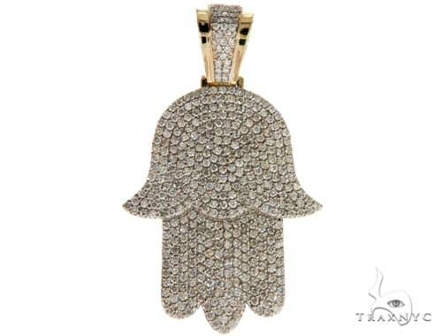 14K Yellow Gold Pave Diamond Hamsa Pendant 61613 Metal