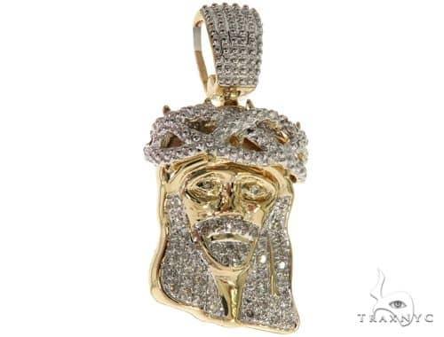 14K Yellow Gold Micro Pave Diamond Jesus Charm Pendant 61617 Metal