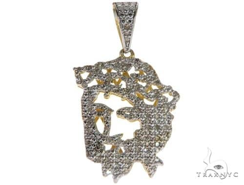 10K Yellow Gold Micro Pave Diamond Jesus Charm Pendant 61620 Metal