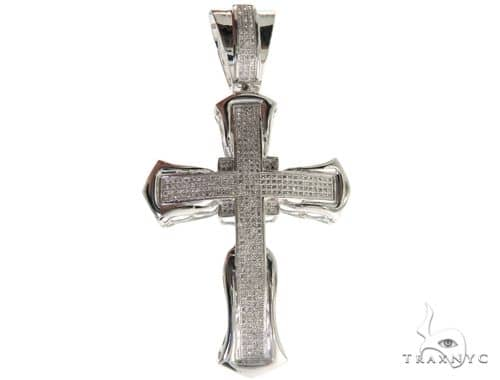 10K White Gold Micro Pave Diamond Cross 61626 Diamond