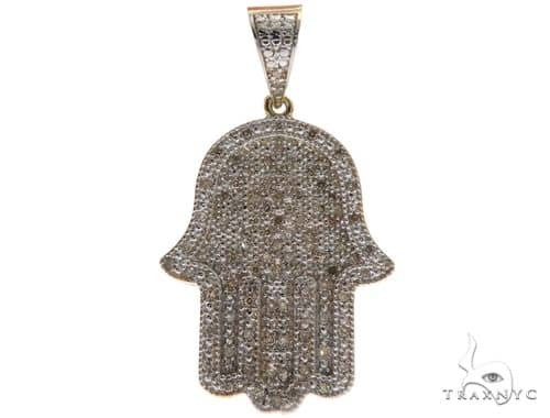 10K Yellow Gold Micro Pave Diamond Hamsa Pendant 61637 Metal