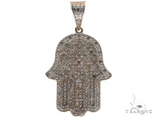 10K Yellow Gold Micro Pave Diamond Hamsa Pendant 61637 Metal