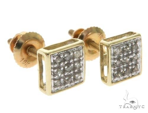 10K Yellow Gold Micro Pave Square Earrings 61639 Stone