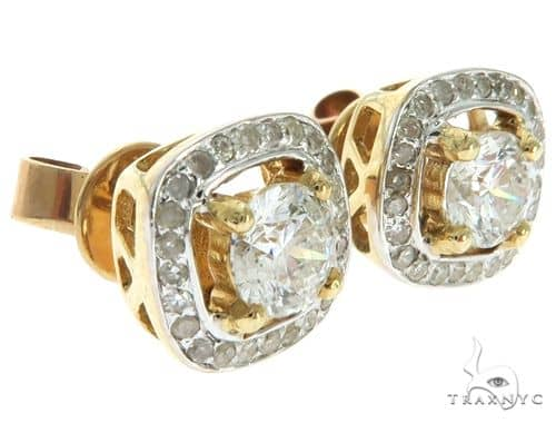 14K Yellow Gold Prong Micro Pave Diamond Earrings 61644 Stone