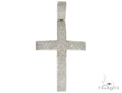 10K White Gold Micro Pave Diamond Cross 61664 Diamond