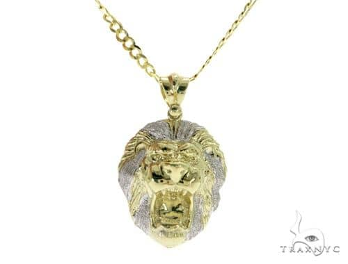 Lion Pendant and 30 Inches Solid Curved Cuban Chain Set 61674 Style