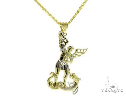 St. Michael Pendant and 24 Inches Hollow Franco Chain Set 61678 Style