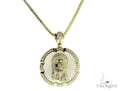 Jesus Head Medallion Pendant and 26 Inches Hollow Franco Chain Set 61682 Style
