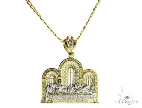 Last Supper Pendant and 24 Inches Hollow Cuban Chain Set 61683 Style