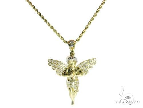 Angle Pendant and 24 Inches Hollow Rope Chain Set 61685 Style