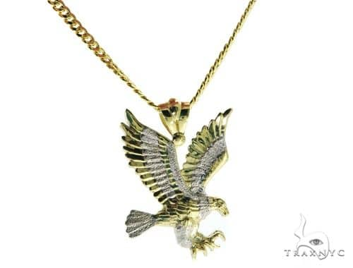 Eagle Pendant and 24 Inches Hollow Cuban Chain Set 61696 Style