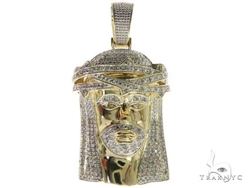 Diamond Jesus Head Pendant 61725 Metal