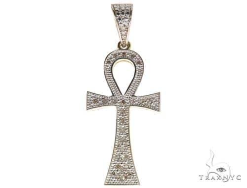 Small Micro Pave Diamond Ankh Cross Pendant 61727 Metal