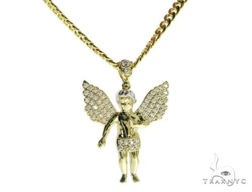 Angel Pendant and 22 Inches Hollow Cuban Chain Set 61728 Style