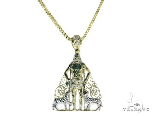 Saint Lazarus Pendant and 24 Inches Hollow Franco Chain Set 61709 Style