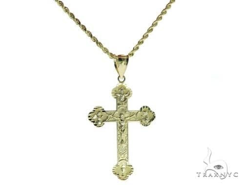 Cross and 24 Inches Hollow Rope Chain Set 61710 Style