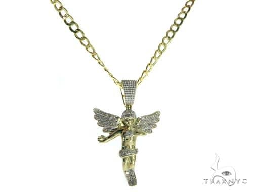 Angel Pendant and 18 Inches Hollow Cuban Chain Set 61711 Style