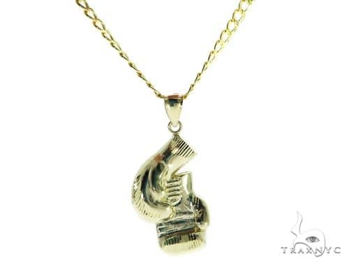Boxing Gloves Pendant and 22 Inches Hollow Cuban Chain Set 61713 Style