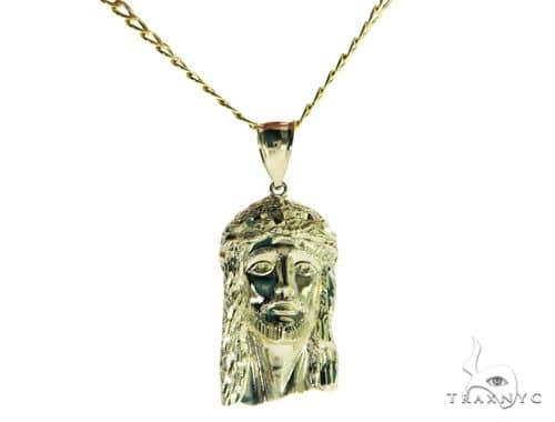 Jesus Head Pendant and 20 Inches Hollow Cuban Chain Set 61719 Style