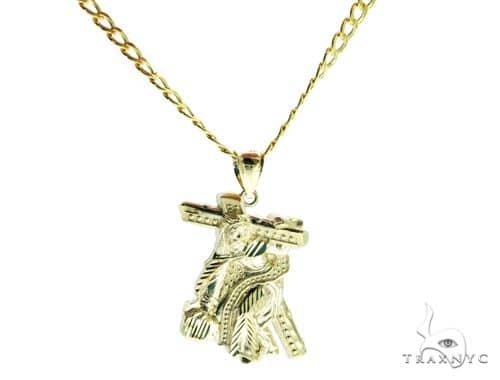 Jesus Crucifixion Pendant and 22 Inches Hollow Cuban Chain Set 61720 Style