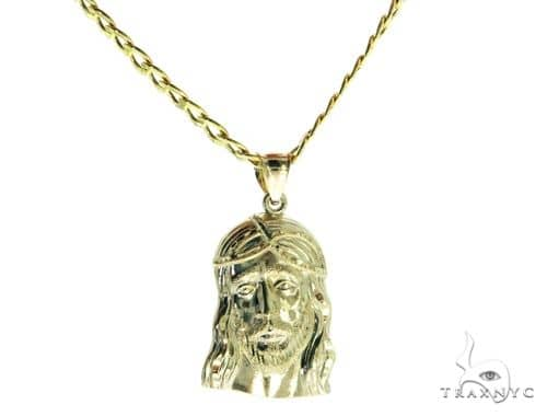 Jesus Head Pendant and 22 Inches Hollow Cuban Chain Set 61734 Style