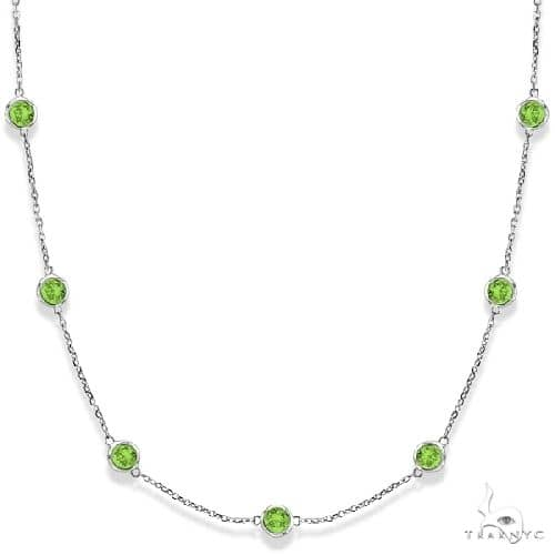 Peridots by The Yard Bezel Station Necklace in 14k White Gold Gemstone