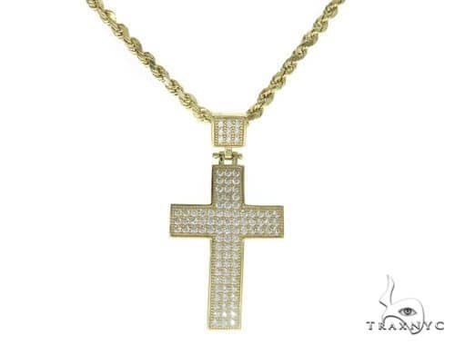 10K Gold Cross and 24 Inches Hollow Rope Chain Set 61751 Style