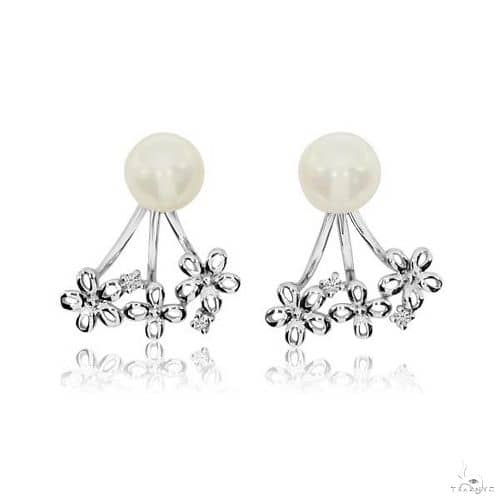 Diamond Accented Pearl Daisy Cuff Earrings 14k White Gold 6mm (0.03ct) Stone