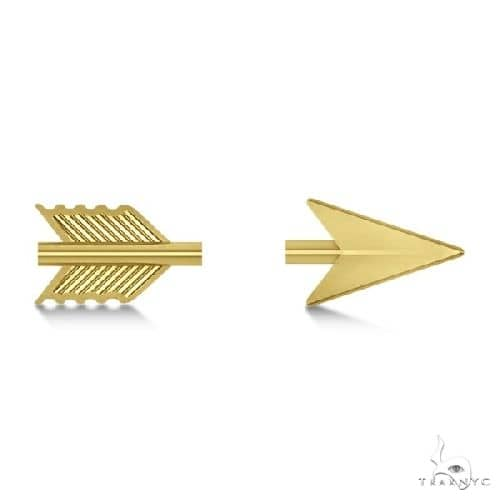 Womens Shooting Arrow Stud Earrings 14K Yellow Gold Metal