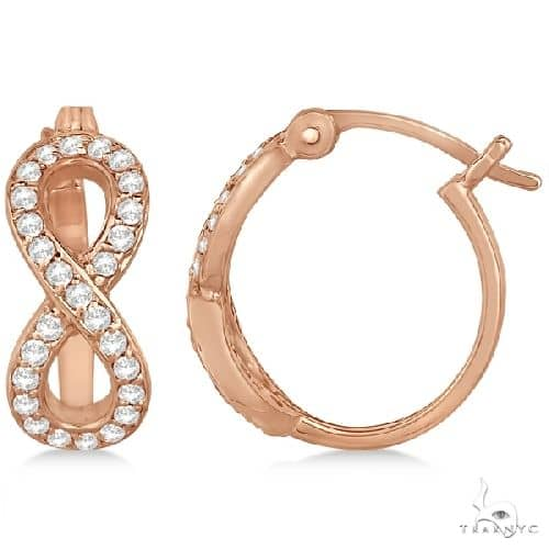 Infinity Shaped Hinged Hoop Diamond Earrings 14k Rose Gold Stone