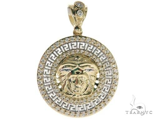 CZ 10K Yellow Gold Medusa Charm Pendant 61781 Metal