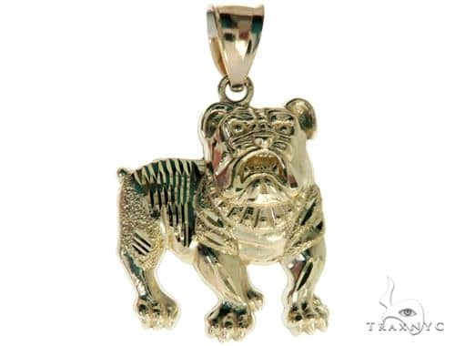10K Yellow Gold Bulldog Charm Pendant 61783 Metal