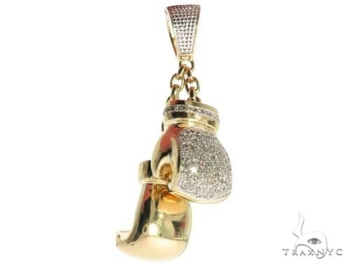 10K Yellow Gold Micro Pave Diamond Boxing Gloves Pendant 61797 Metal