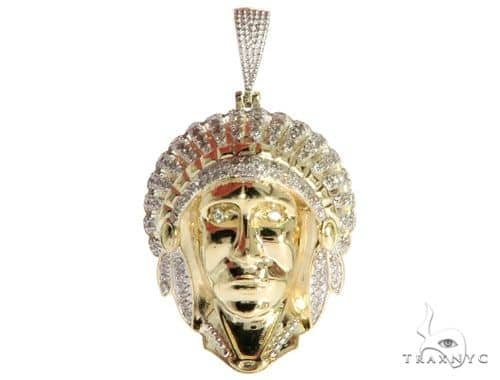 10K Yellow Gold Prong Bezel Diamond Indian Head Charm Pendant 61798 Metal