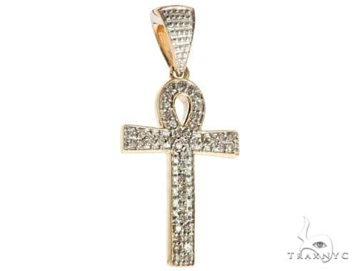 10K Yellow Gold Micro Pave Diamond Cross 61799 Diamond