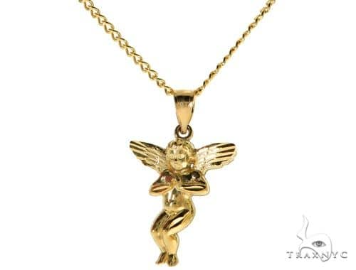 10K Yellow Gold Angel S Charm 20 Inches Cuban Link Chain Set 61806 Style