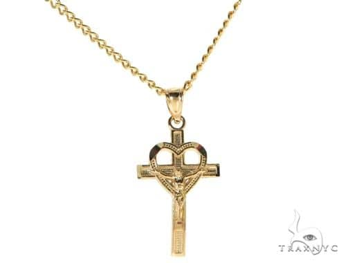 10K Yellow Gold Heart Crucifix Charm 18 Inches Cuban Link Chain Set 61810 Style