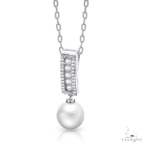 Freshwater and Seed Pearl Pendant Necklace w/ Topaz Sterling Silver Stone