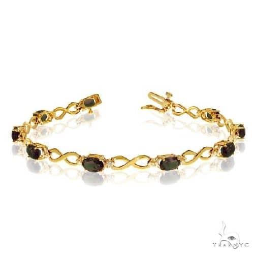 Oval Mystic Topaz and Diamond Infinity Bracelet 14k Yellow Gold Gemstone & Pearl