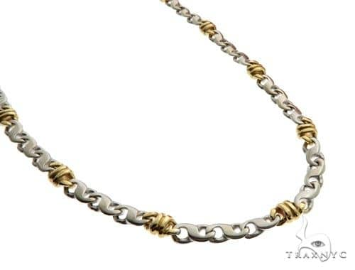 14K Two Tone Gold Fancy Link 2 in 1 Bracelet Chain 25 Inches 5mm 52.3 Grams 61857 Gold