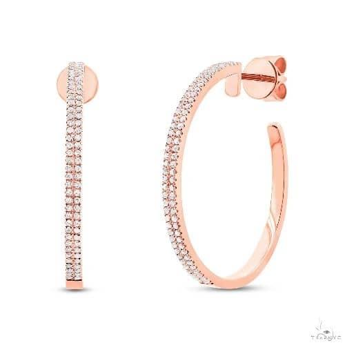 14k Rose Gold Diamond Hoop Earrings Stone