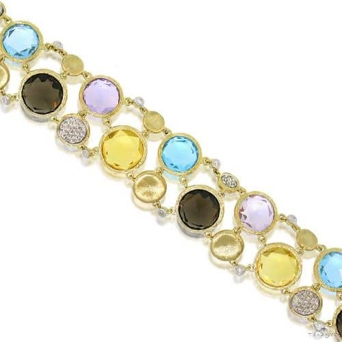0.45ct Diamond and 42.64ct Multicolor Stone 14k Yellow Gold Bracelet Gemstone & Pearl