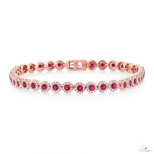 1.22ct Diamond and 2.03ct Ruby 14k Rose Gold Ladys Bracelet Gemstone & Pearl