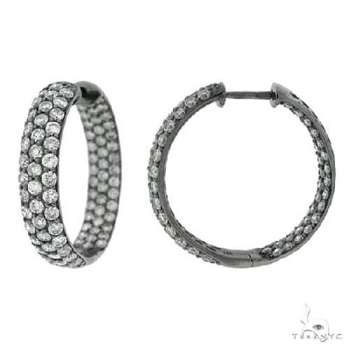 14k Black Rhodium Diamond Hoop Earrings Stone