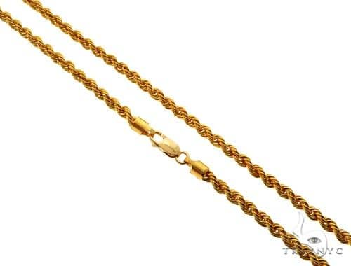22K Yellow Gold Hollow Rope Link Chain 20 Inches 3.8mm 10.8 grams 62511 Gold
