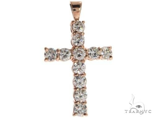 14K Rose Gold Prong Diamond Cross 62533 Diamond