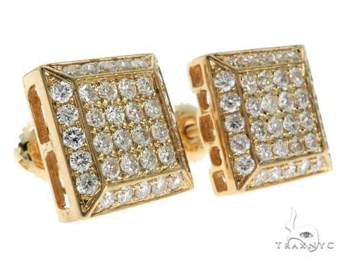 14K Yellow Gold Pave Diamond Square Head Earrings 62547 Stone