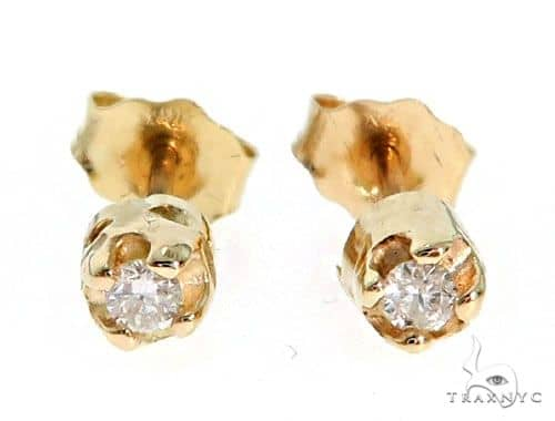 14K Yellow Gold Bezel Diamond Earrings 62552 Stone