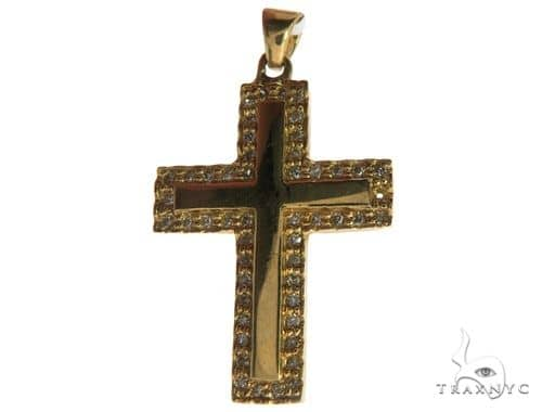 14K Yellow Gold Micro Pave Diamond Cross 62554 Diamond